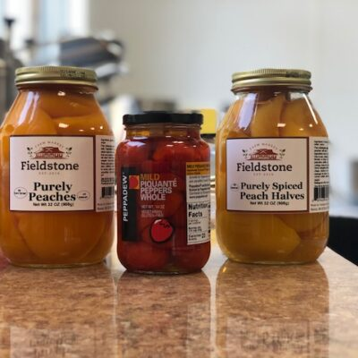 Fieldstone's own Spiced Peaches & Peppadew Peppers & Stuffed Olive Weekend Tasting 10/26/19 – 10/27/19 11 am – 3 pm